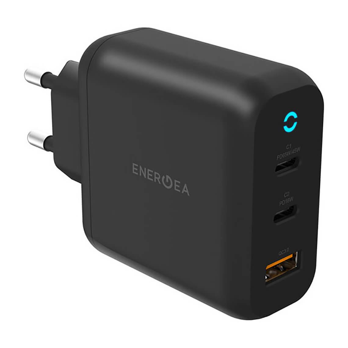 شارژر دیواری انرژیا مدل AMPCHARGE GaN65 با دو درگاه USB-C و USB-A