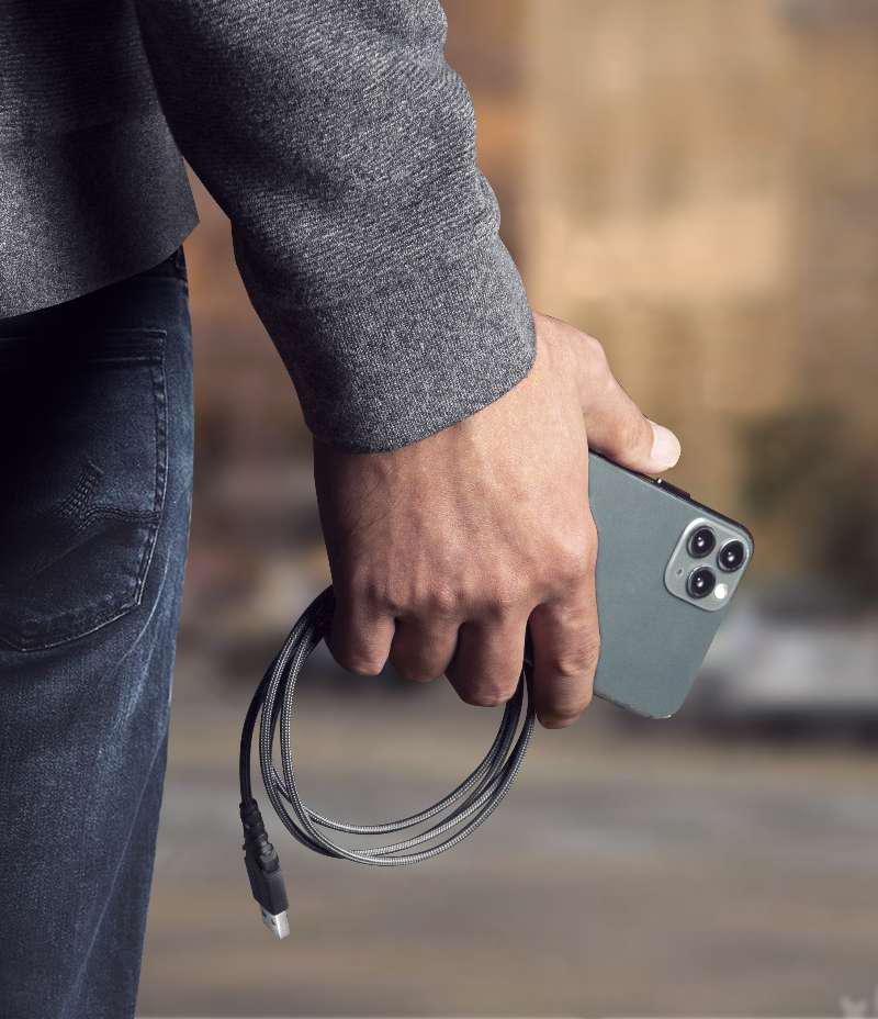 کابل انرژیا USB-C به Lightning مدل FibraTough آنتی میکروبیال طول ۱.۵ متر