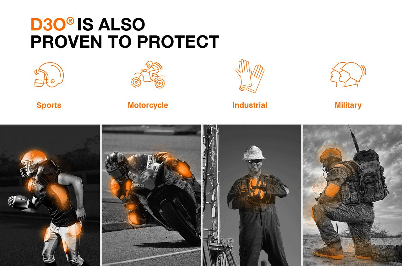 کاربرد d3o در تجهیزات ایمنی و محافظتی مختلف